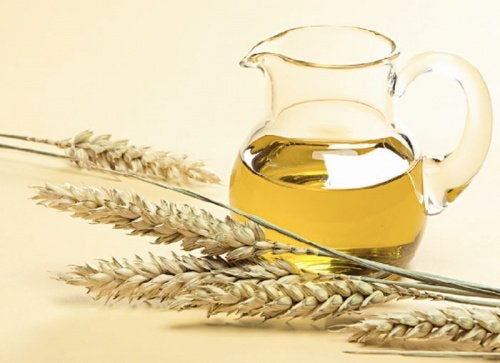 Wheat germ oil in a pitcher