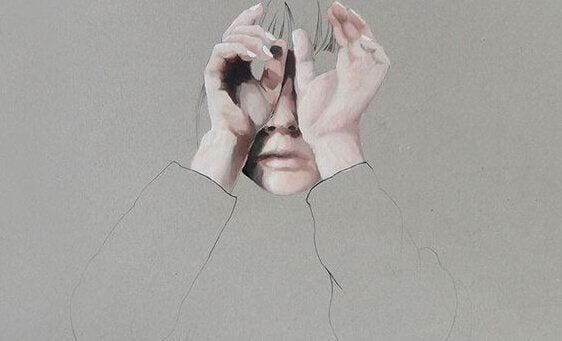 Painting of a person covering their face
