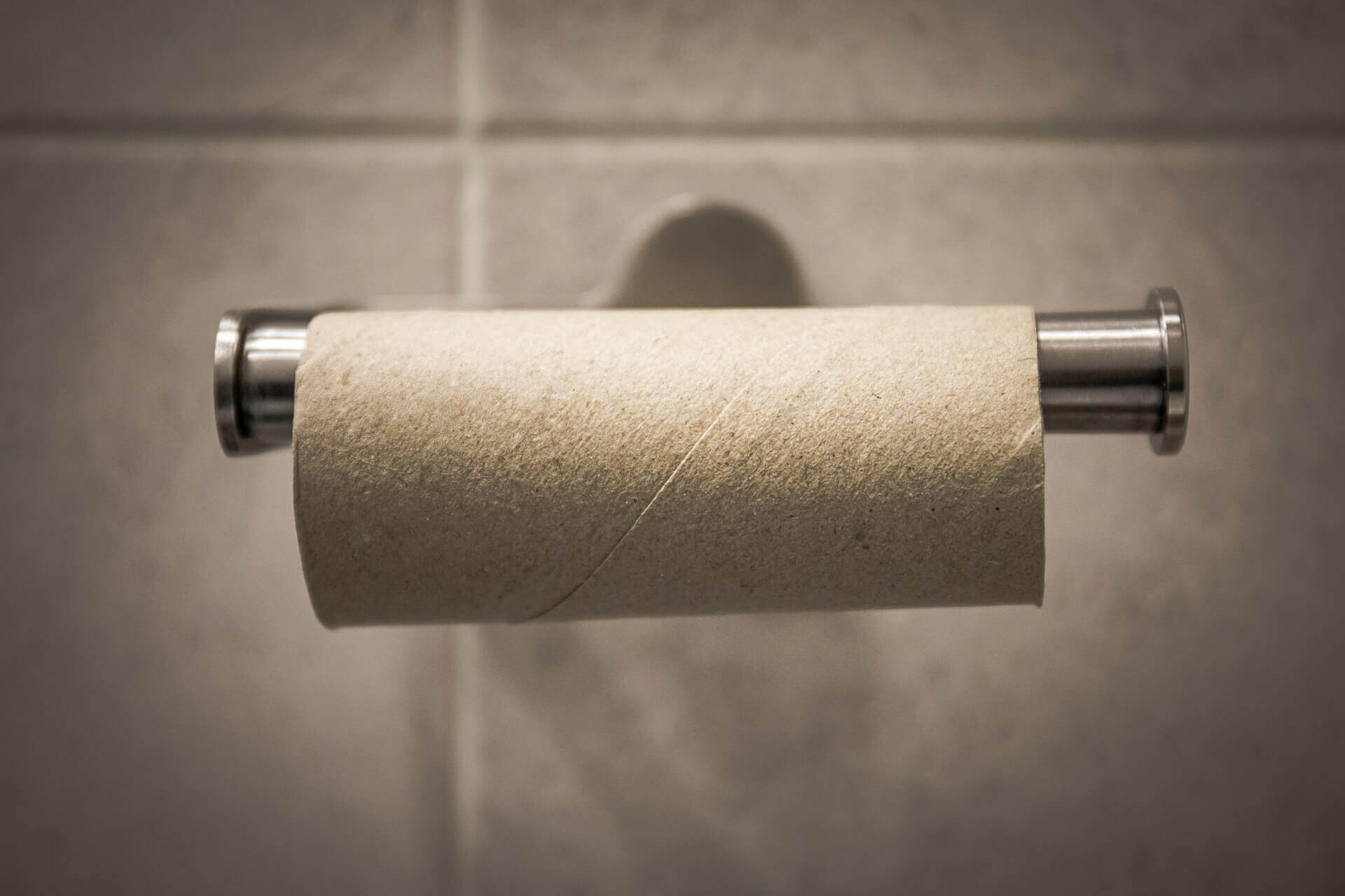 An empty tube of toilet paper.