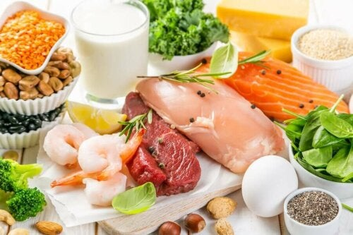 high protein foods on a table