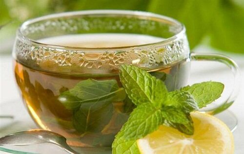A cup of mint tea.
