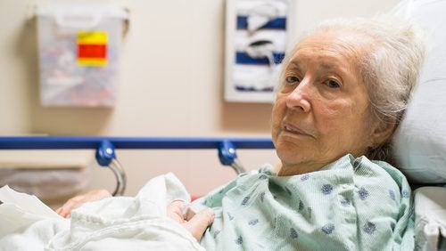 Old woman in hospital
