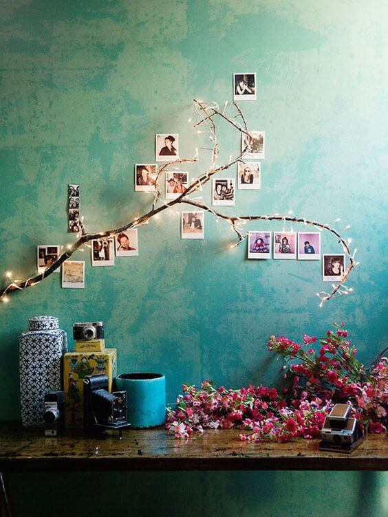 Photographs arranged in a tree shape