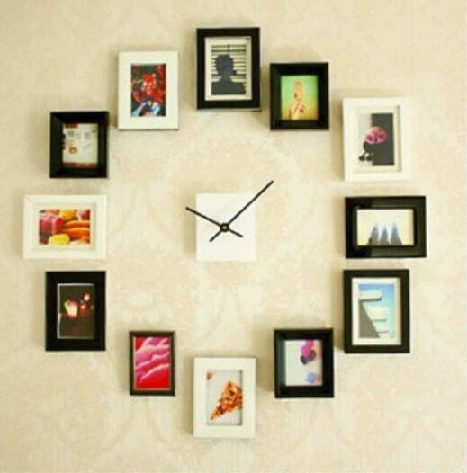 Photographs in a clock