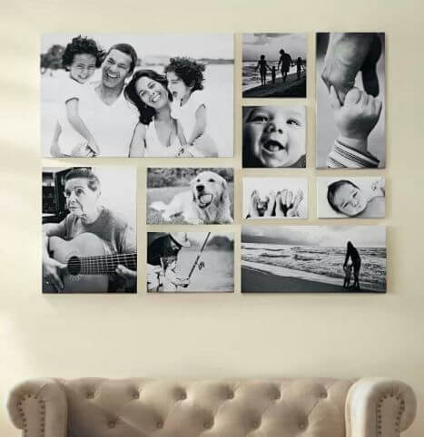 Family photographs in a collage