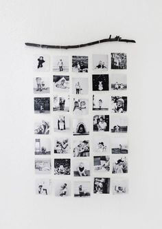 Photographs in a rectangle on the wall