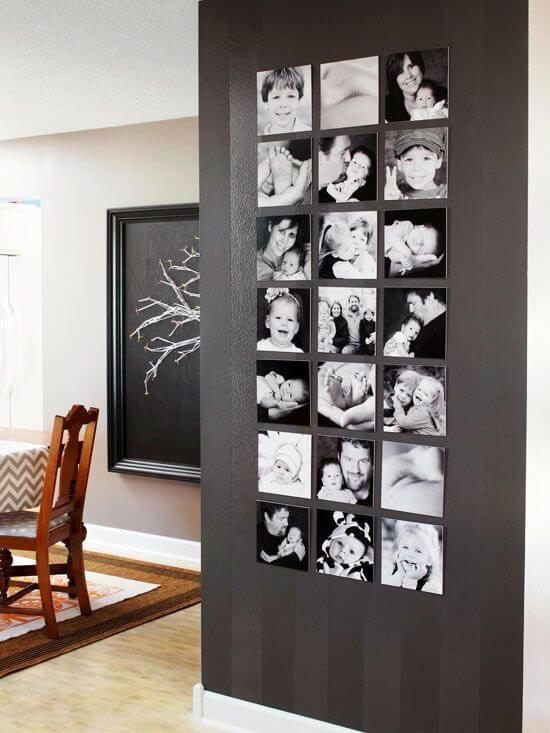 Photographs on a wall