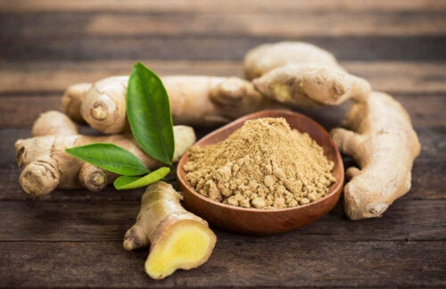 Some powdered ginger in a bowl for athlete's foot relief.