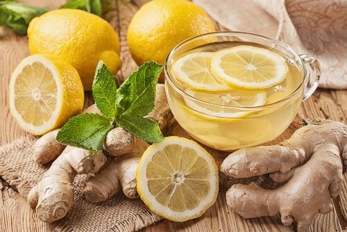 green tea and ginger with lemon