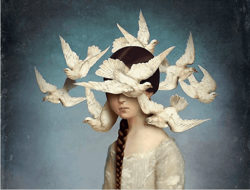 Girl with birds on her head illustration program your subconscious