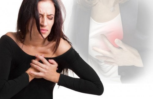 Woman having heart attack chest pains insomnia increases risk of heart attack