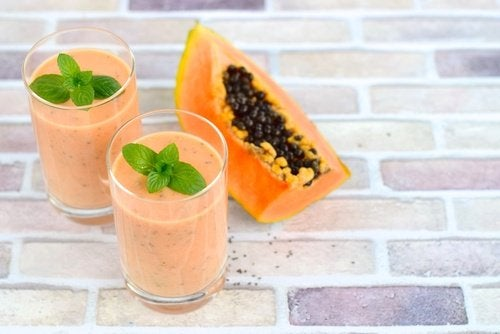 Glass of papaya smoothie