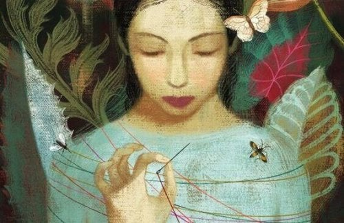 Painting of a girl with twine around her silence