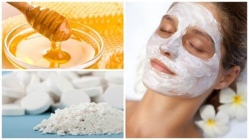 Three pictures of honey, aspirin crushed up and a woman with a white face mask uses for aspirin