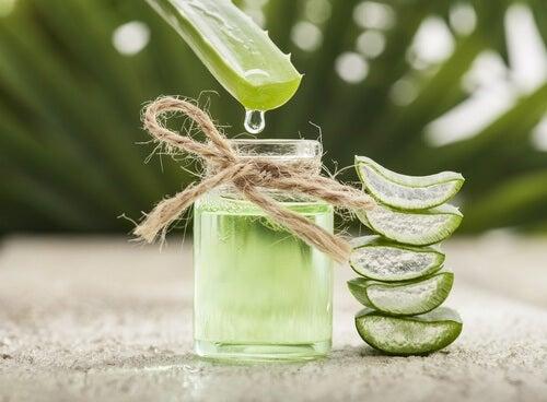 A bottle of Aloe Vera oil.