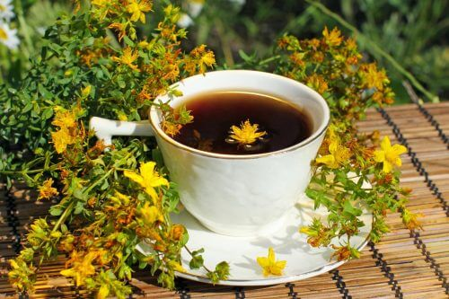 A cup of St John's wort tea.