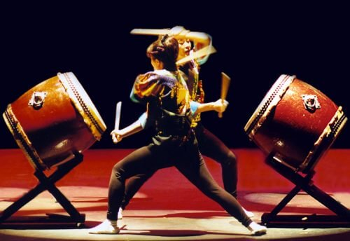 Two women doing taiko