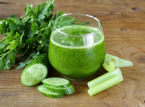 Healthy cucumber drink in a glass