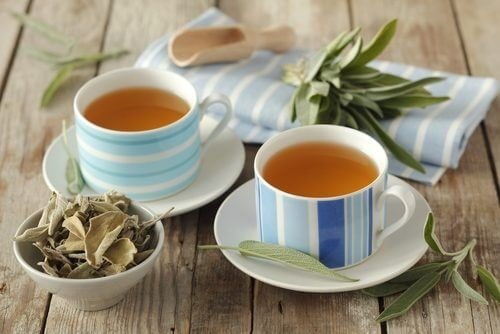 Two cups of sage tea