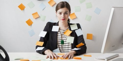 Woman with post-it notes everywhere