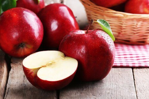 Red apples fresh dental plaque