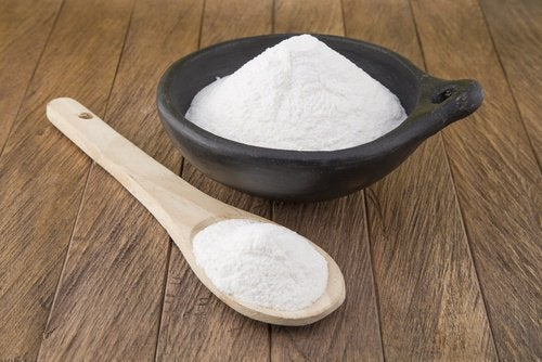 Bowl of baking soda dental plaque