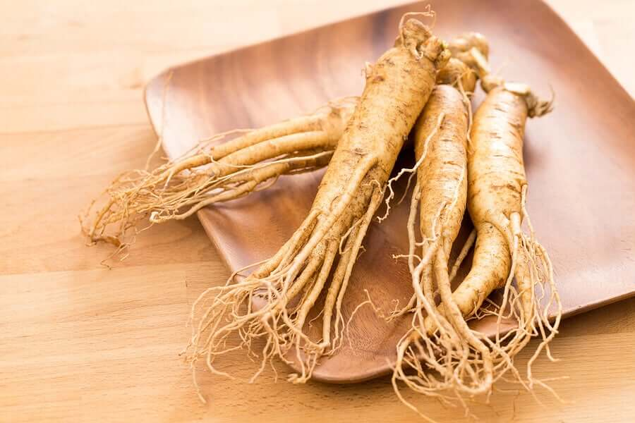 A plate of ginseng, known to help reduce the craving to smoke.