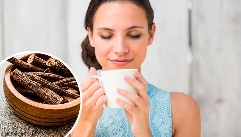 A woman with a cup of tea and some licorice root to help with the craving to smoke.