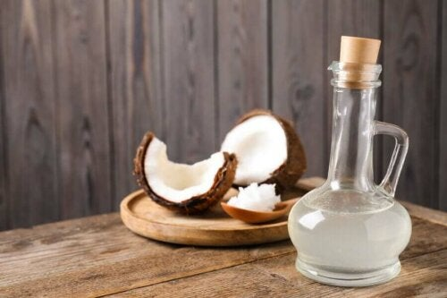 A bottle of coconut oil.