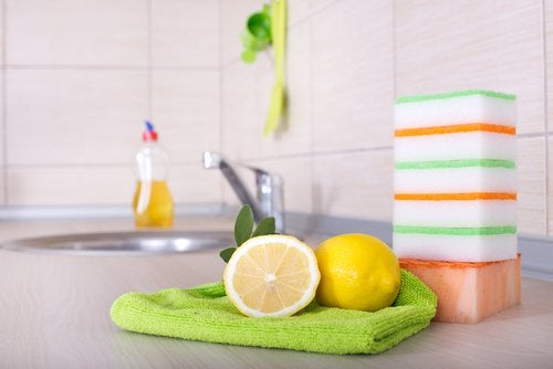 use lemons as a kitchen disinfectant with soap