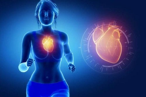 Heart inside body red glowing woman running blue background benefits of fish oil