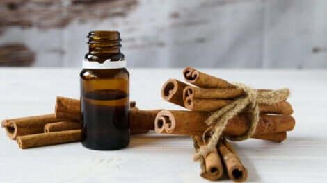 A bottle of cinnamon oil.
