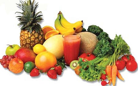 A selection of fruit and vegetables.