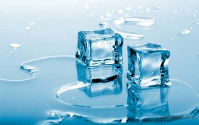 Two ice cubes melting.
