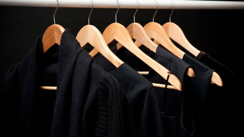 Black clothes hanging.