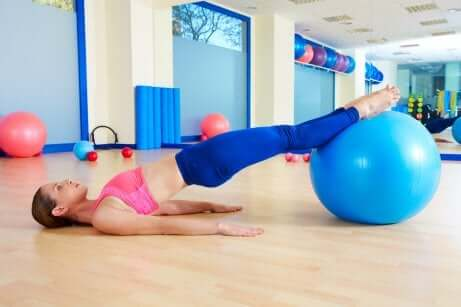 A woman doing Kegel exercises.