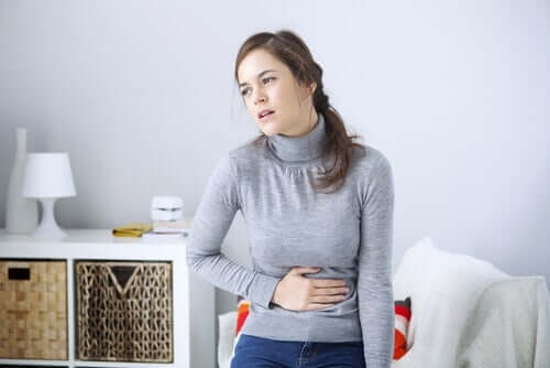 A woman with a stomachache.