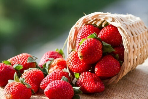 A small basket of strawberries