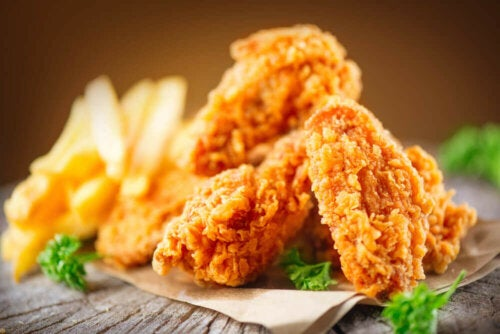 Some fried chicken and fries.