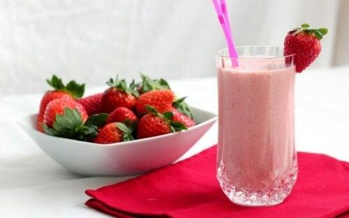 A strawberry breakfast shake.