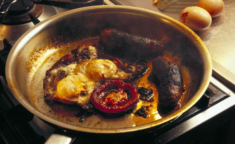 Saving burned fry-pans
