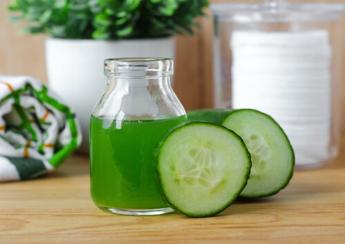 cucumber juice in a glass jar