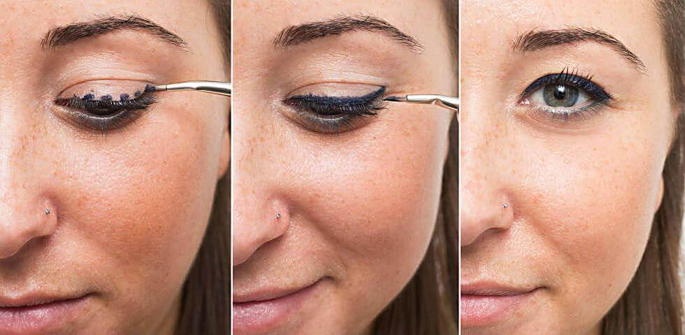 Applying eyeliner in three stages.