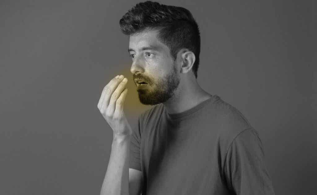 A man with bad breath.