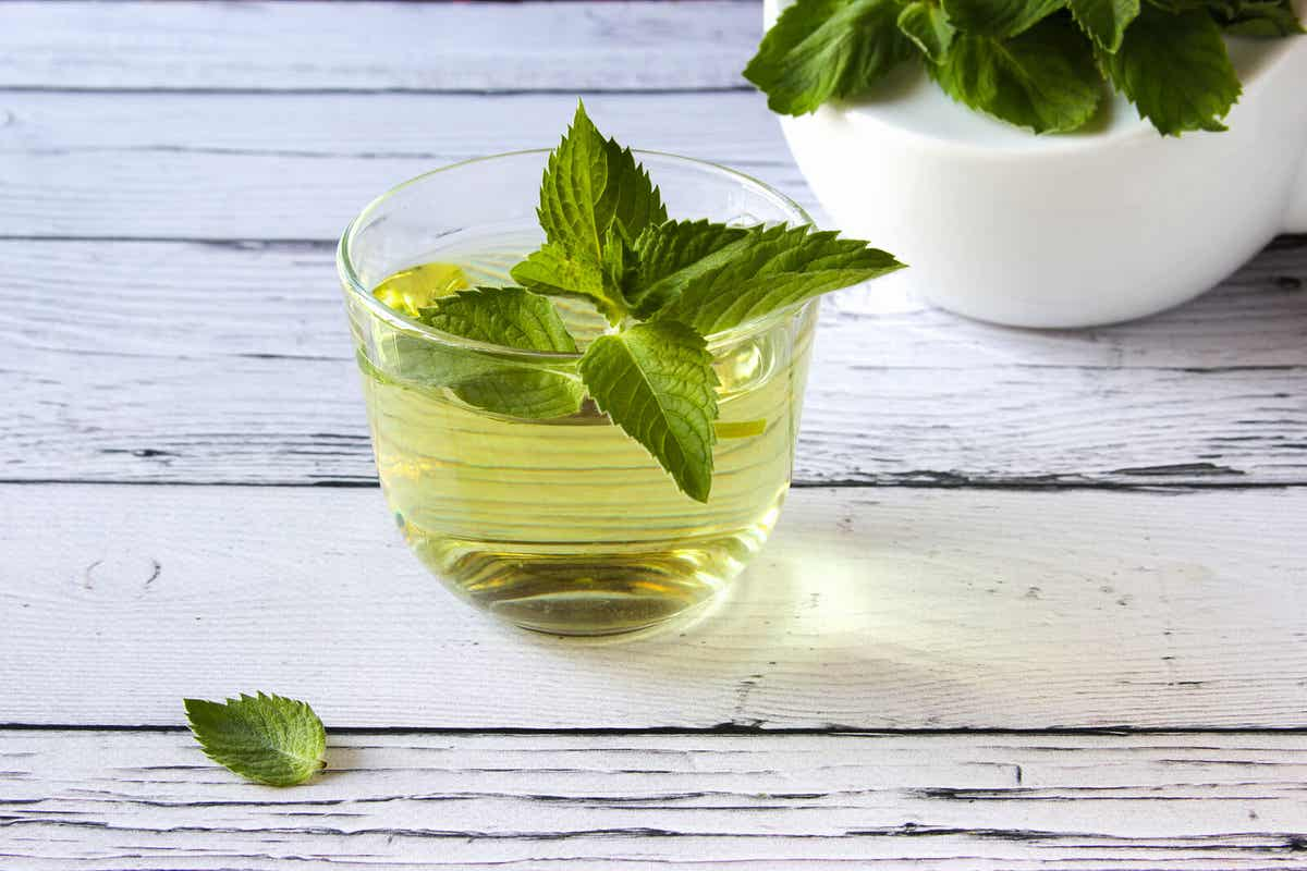 A cup of peppermint tea.