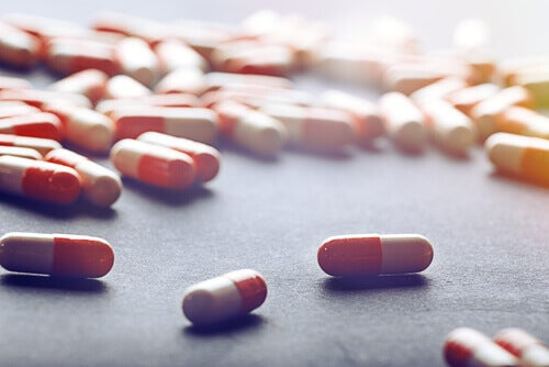 pills scattered on a surface
