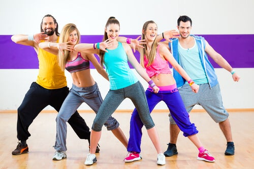 A group doing aerobics.
