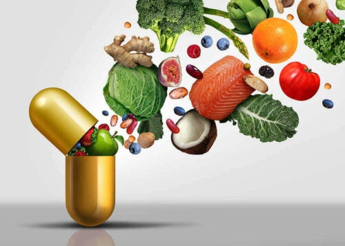 An assortment of vitamin and minerals in fruit and vegetables.
