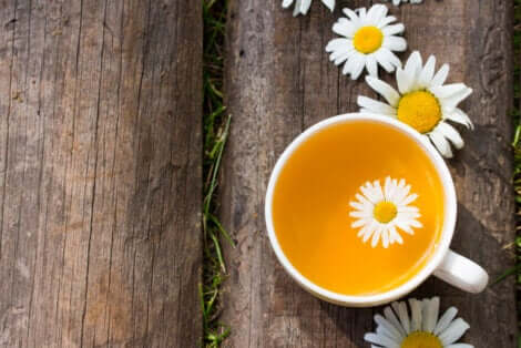 A cup of chamomile infusion.