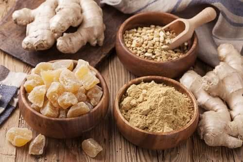 Different forms of ginger.